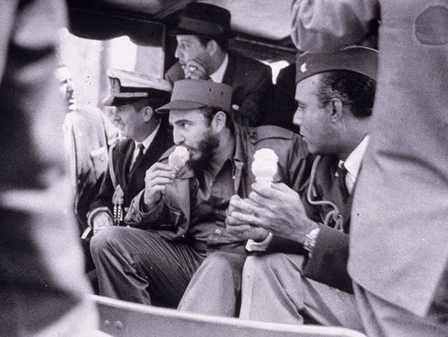 historic photography Fidel Castro enjoying ice cream during a visit to a US military camp 1959