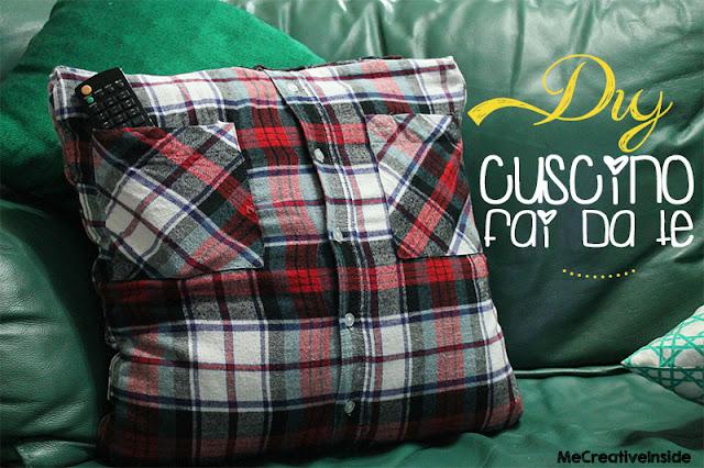 tutorial diy cuscino fai da te con vecchia camicia ME creativeinside