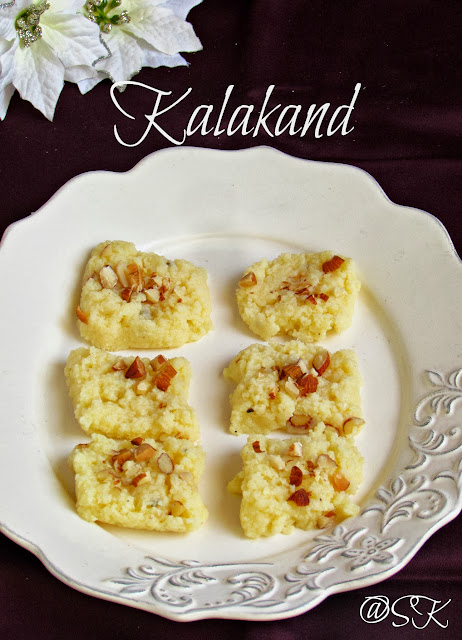 quick and easy kalakand recipe using ricotta cheese  - microwave version -- easy diwali recipes - step by step