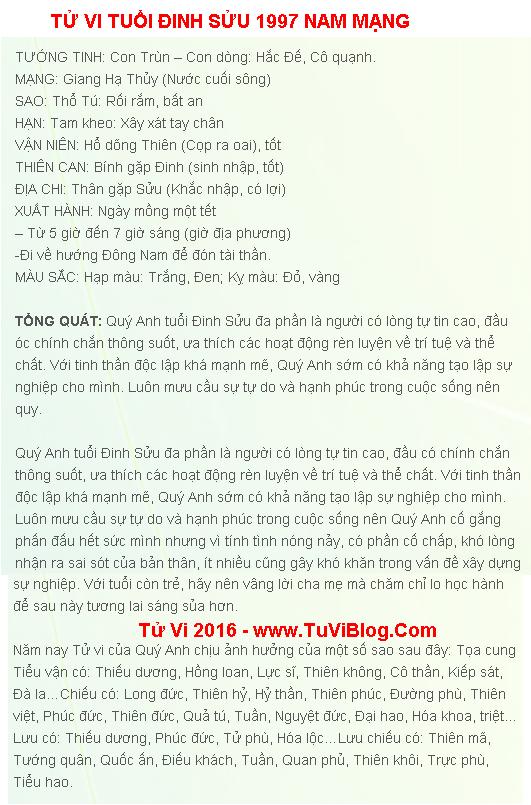 Tu Vi Dinh Suu 1997 Nam 2016 Nam