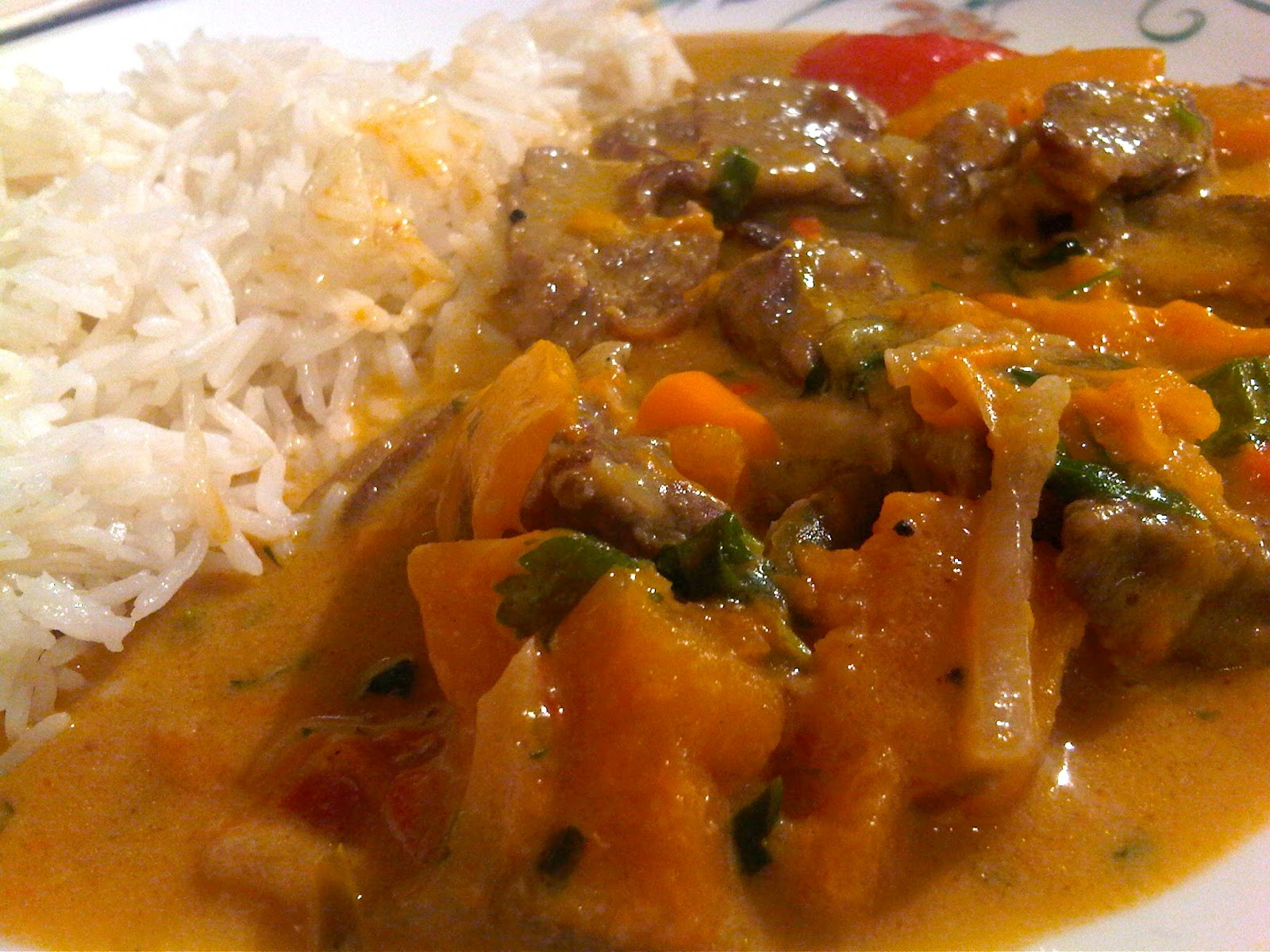 of beef butternut squash peppers rice red curry paste coconut milk red ...