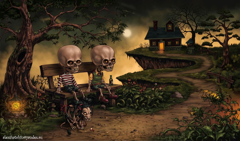 illustration de Alexander Shatohin représentant des amoureux squelettes sur un banc