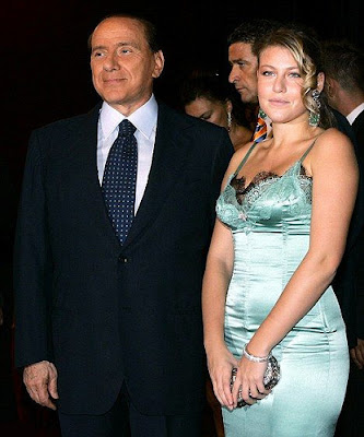 Barbara Berlusconi in night dress with her father Silvio Berlusconi
