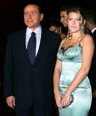 Barbara Berlusconi in night dress with her father Silvio Berlusconi
