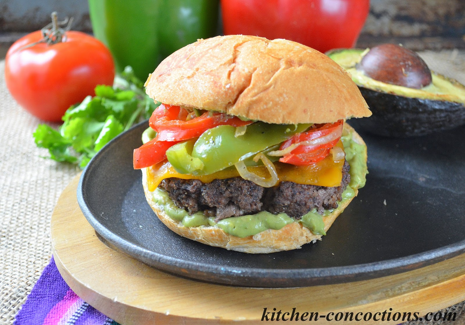 Kitchen Concoctions: Beef Fajita Burgers with Creamy Avocado Ranch ...