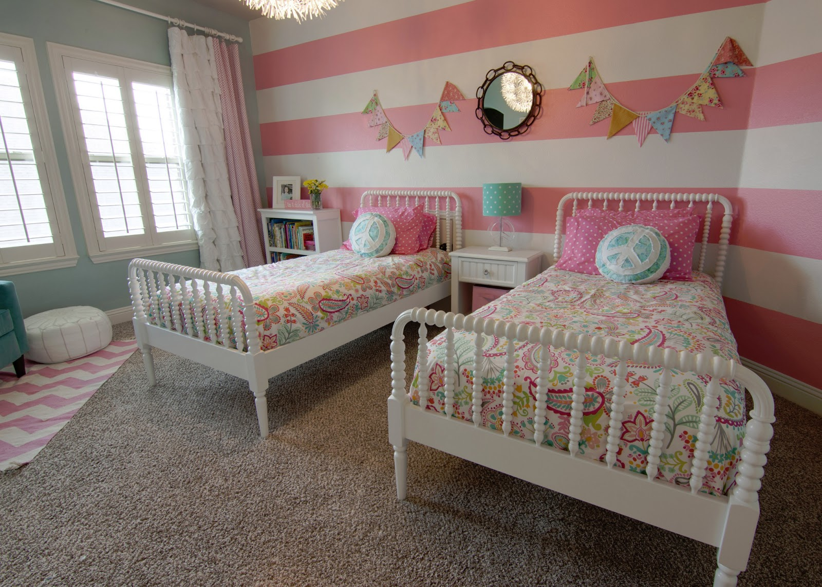 A little of this a little of that girls room tour for Twin girls bedroom ideas