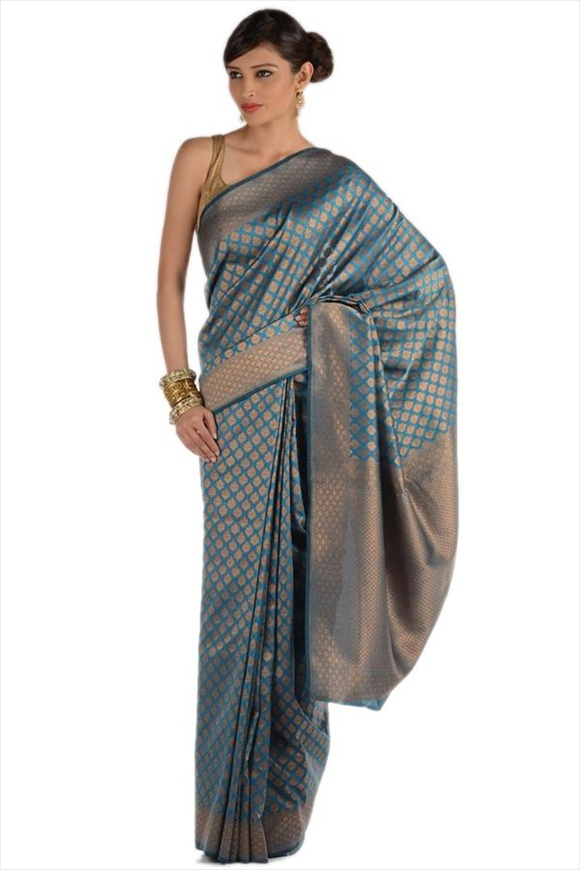 Blue Moon Art Georgette Banarasi Saree