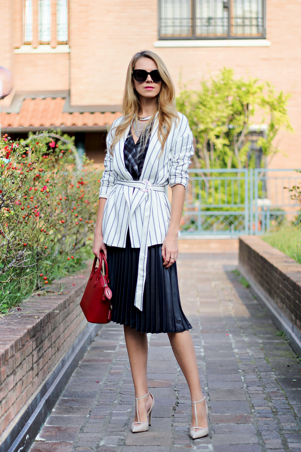 pleated midi skirt, striped blazer, red mini bag, tartan blouse, fall outfit