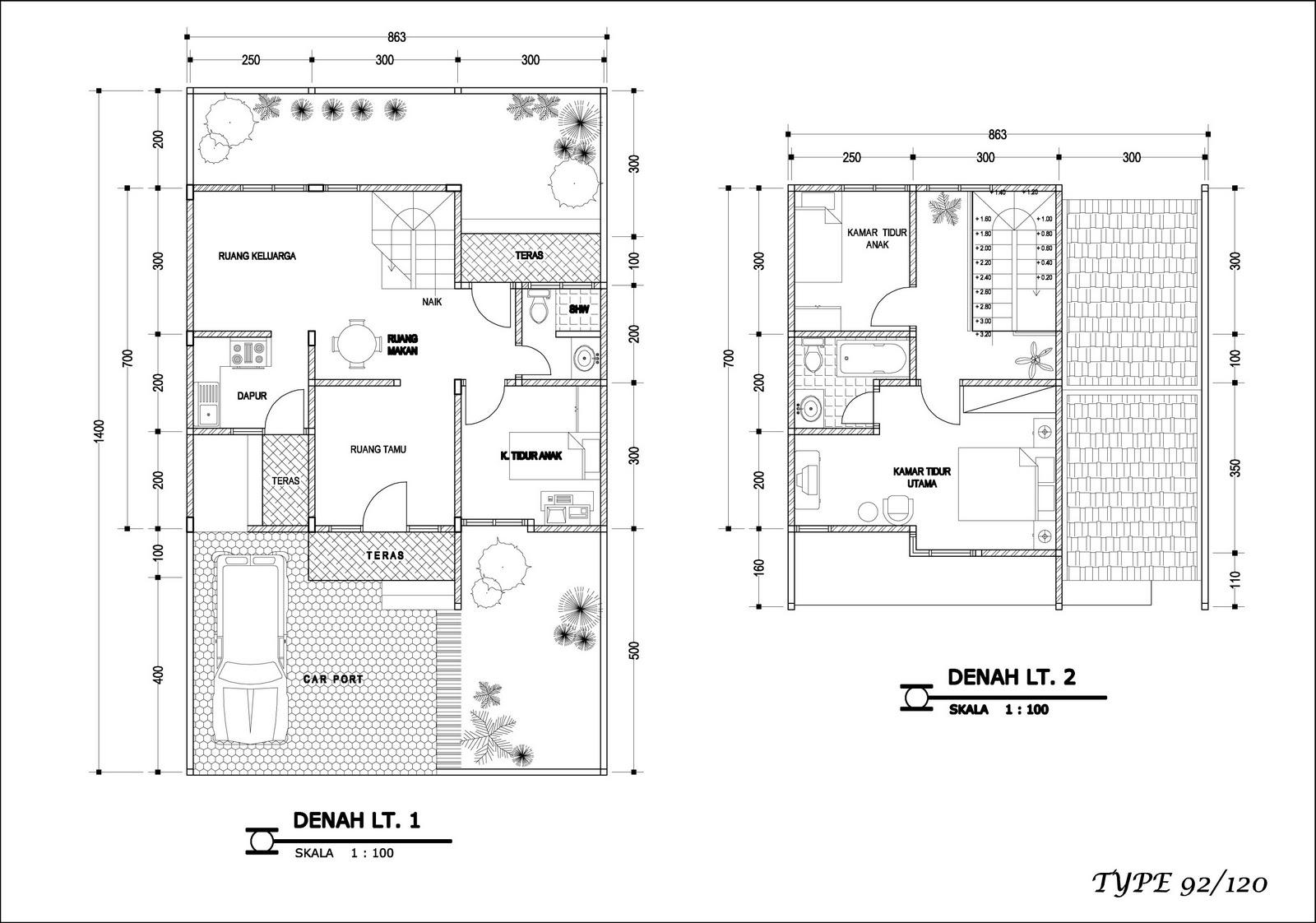 contoh desain rumah 9 rumah bertingkat minimalis tipe 92