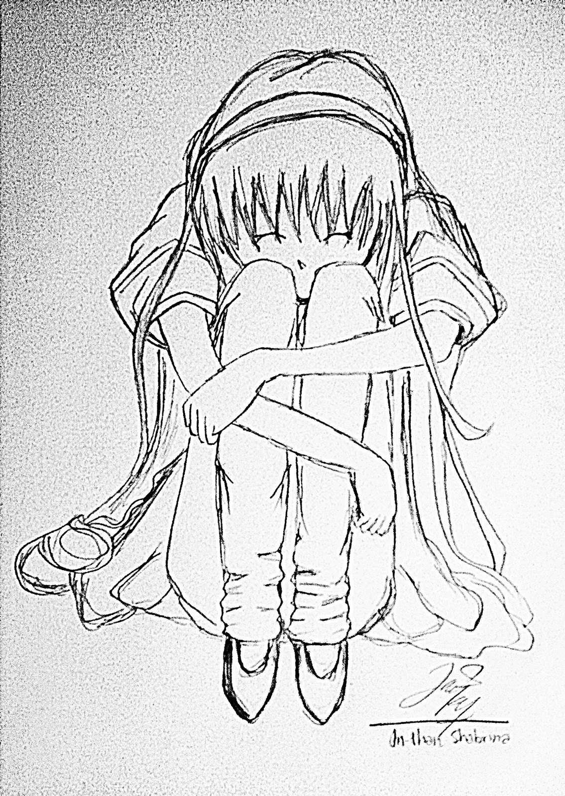 Gambar sketsa anime sedih