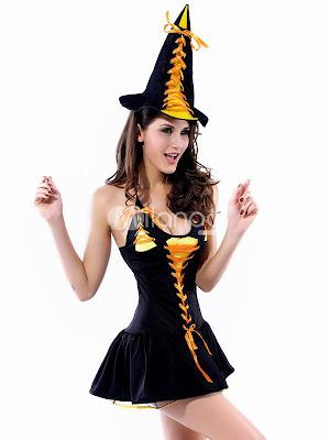 Hot acrylique noir Costumes Sexy Spandex sorcière