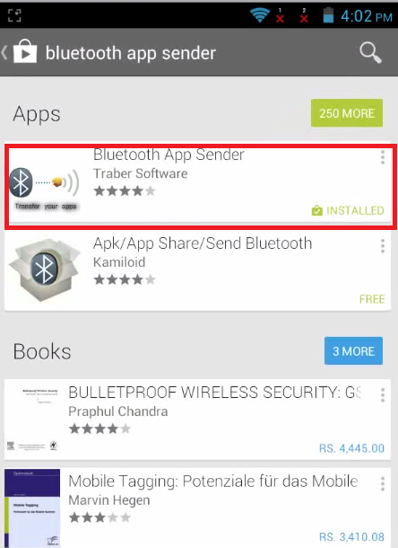 Send and Store Apps Setup exe. files in Android Phone  Bluetooth app sender
