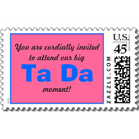 Pink and Blue Baby Gender Reveal Ta Da Custom Postage