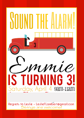 Invitation idea for fireman/firetruck birthday party