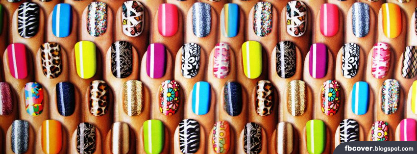 Colourful Nail Art Facebook Cover | FB Cover - Unique Covers For FB