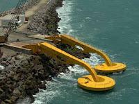 Foto de captadores de energía undimotriz anclados al litoral marítimo.