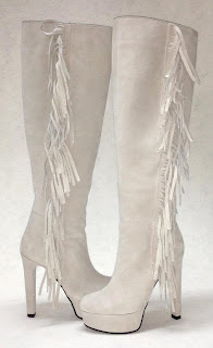 cizme albe peste genunchi cu franjuri din piele intoarsa