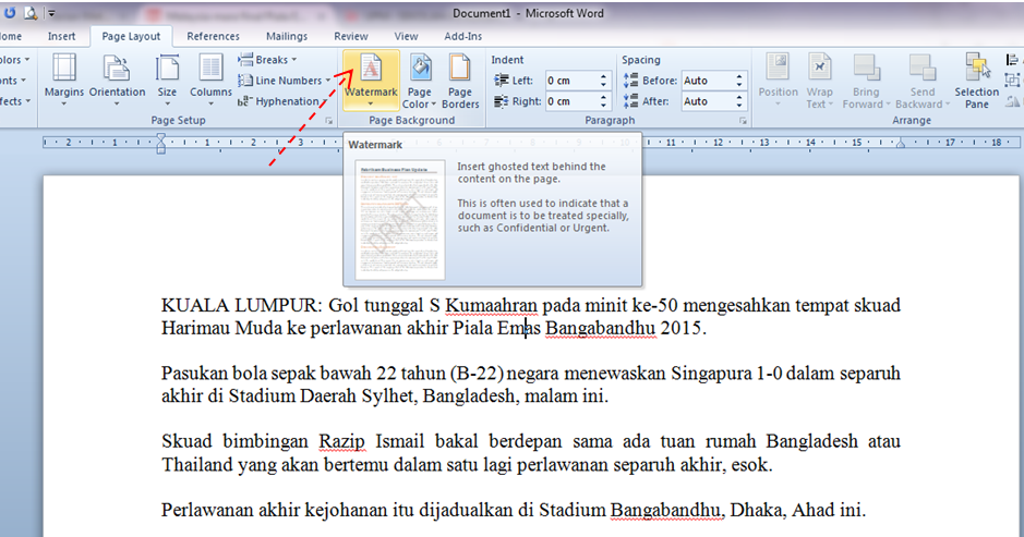 Projek Dah Siap: Tajuk 28 : Guna watermark sebagai penanda