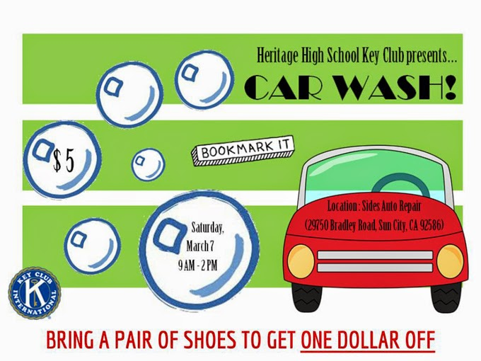 Heritage Key Club To Hold Car Wash Shoe Drive Menifee 24 7