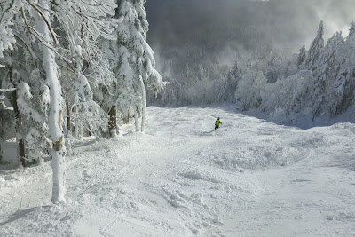 Skiing Lies at Gore Mountain on Saturday, January 5, 2013.  Despite amazing snow conditions, Lies was empty at mid-day.  There was so much good terrain to chose from, skiers spread out across the mountain.  Cars were parked well down the access road, but lift lines were non-existent.