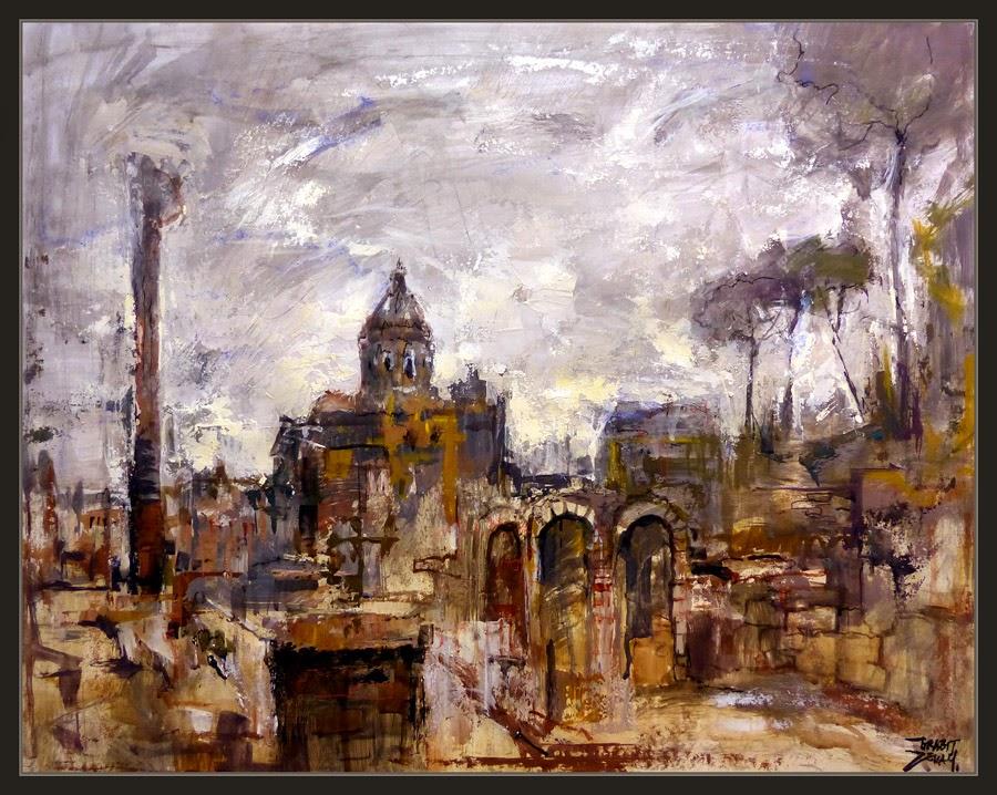 ROMA-PINTURA-FORO ROMANO-PAISAJES-CUADROS-HISTORIA-ARTISTA-PINTOR-ERNEST DESCALS-