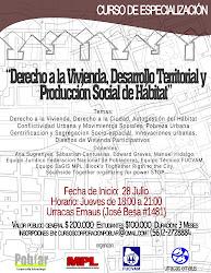 """Lanzan curso """"Derecho a la Vivienda, Desarrollo Territorial y Gestión Social del Hábitat"""""""