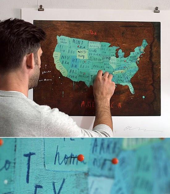 Diy Map Wedding Gift : The Clantoons: Wedding Gift: US map DIY