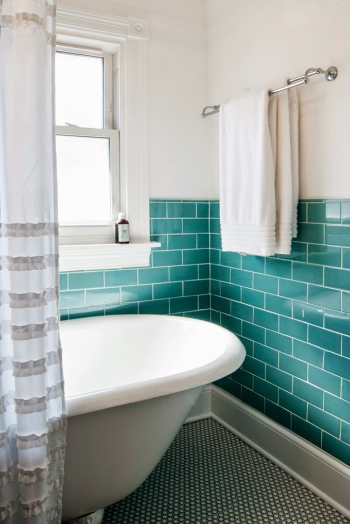 House of turquoise studio m interiors - Turquoise bathroom floor tiles ...