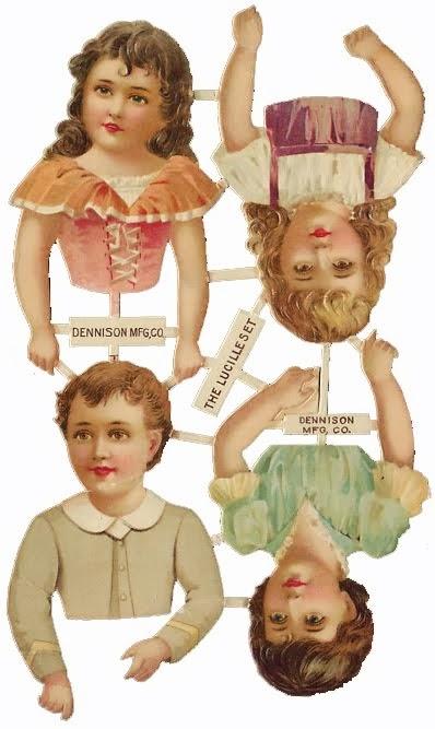 старинные бумажные подвижные куклы