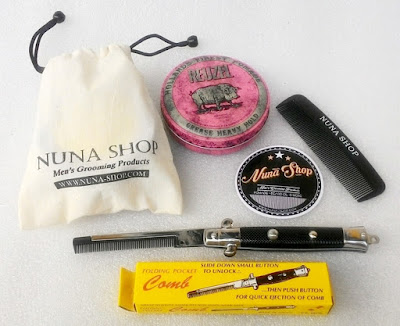 Paket Hemat Pomade Reuzel Pink + Switchblade Comb (SB) + Pouch + Stiker + Sisir Saku