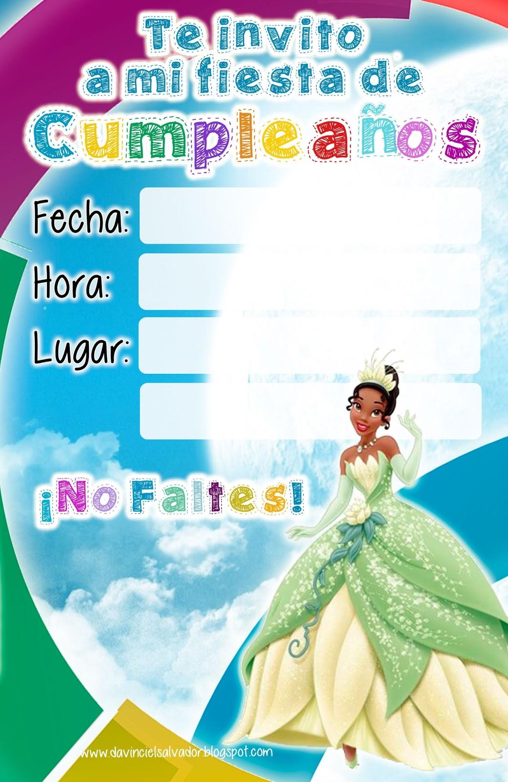 Invitación de Cumpleaños de la Princesa Tiana