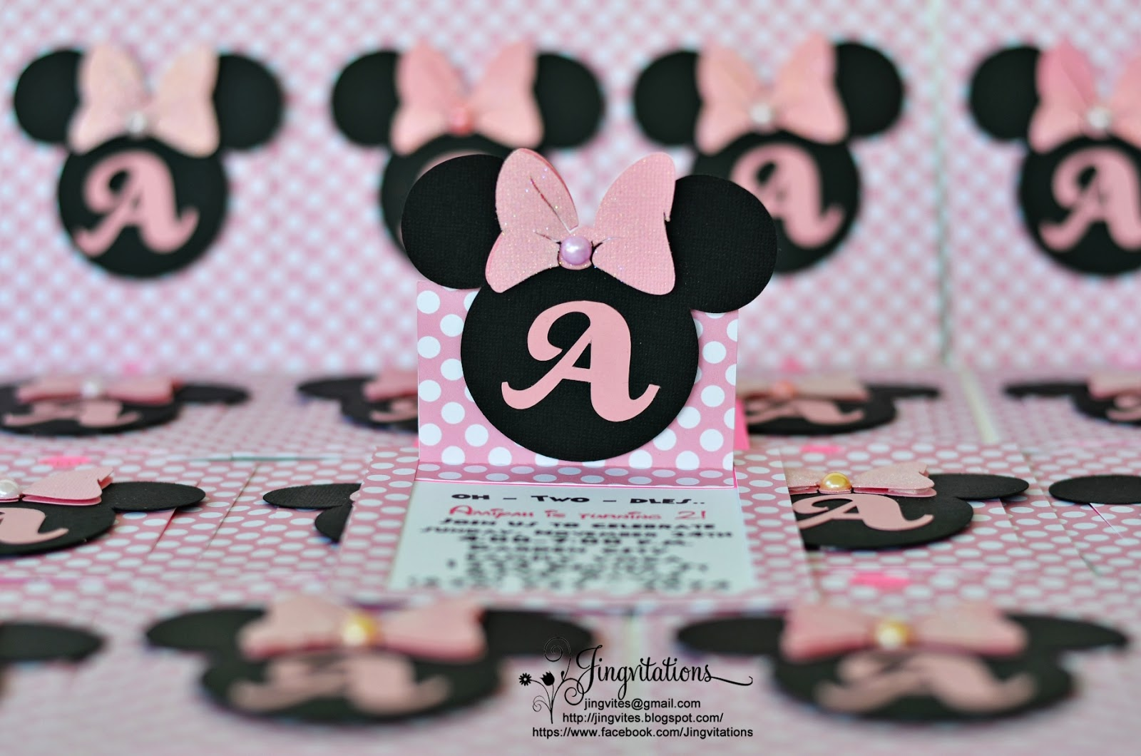 Jingvitations Cricut Handmade Minnie Mouse Pop Up Invitations