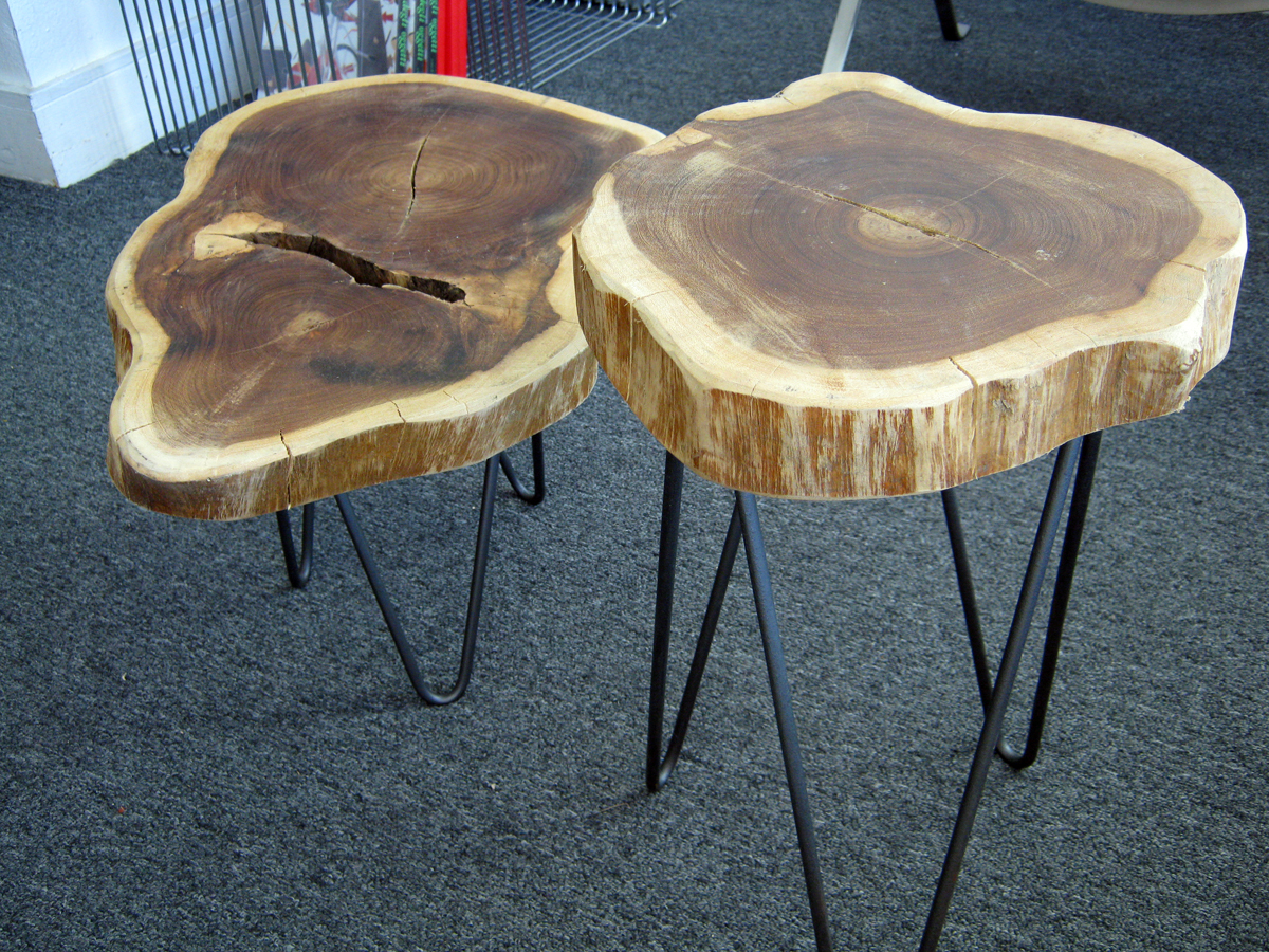 Rustic Tree Trunk Tables With Hairpin Legs