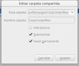 Compartir carpeta con Fedora 22 en VirtualBox