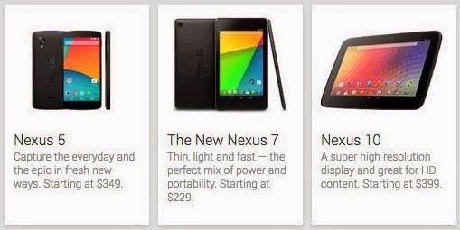 Стоимость новейших Нексусов в американском Google Play.