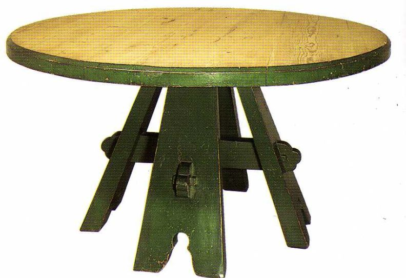Charmant Round Table Designed For Red House. Notice The Reinforced Through Tenons On  The Stretcher.
