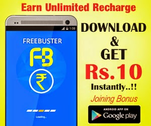 (Still working) Easily Earn recharges for free with Rs.10 joining bonus at FreeBuster : BuyToEarn