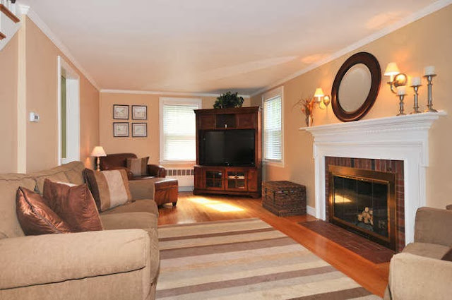 warm living room environment with plenty of natural accents and classy decorations