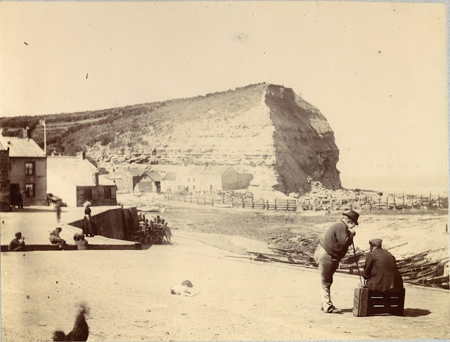 Cowbar Nab, Staithes, Yorkshire Coast. Jurassic Lias rocks for the headland. Photographs by W.J. Harrison, held in British Association for the Advancement of Science (BAAS) photographic print collection on deposit at the British Geological Survey.