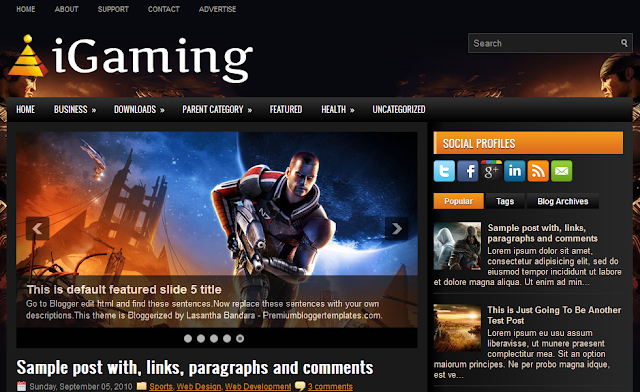 Game Theme Blogger Template