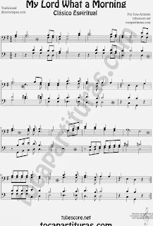 Partitura de My Lord What a Morning a 4 voces. Partitura de Cuarteto de Metales en Clave de Fa para tuba, trombón, chelo, fagot, bombardino... Sheet Music for trombone, tube, cello, bassoon, euphonium..