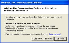 Windows Live Communications Platform ha detectado un problema y debe cerrarse