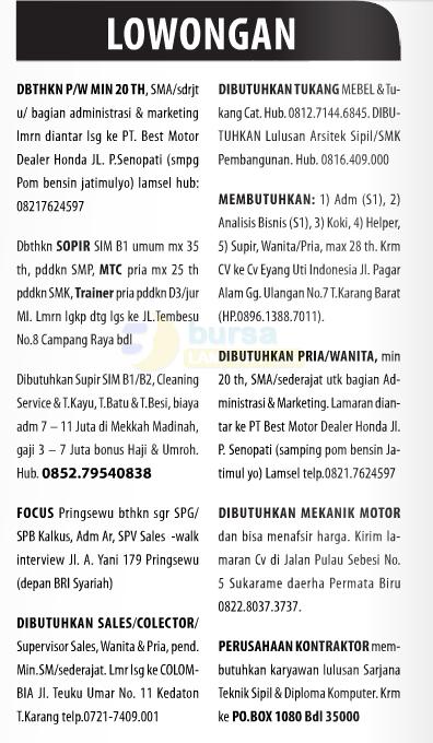 Lowongan Baris Lampung Post 30 November 2014