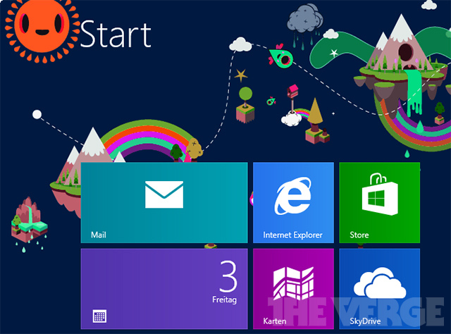 A rather colourful version of Windows 8 start screen