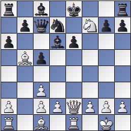 Posición de la partida de ajedrez Rey Ardid-Tartakover después de 11. Cxf7!