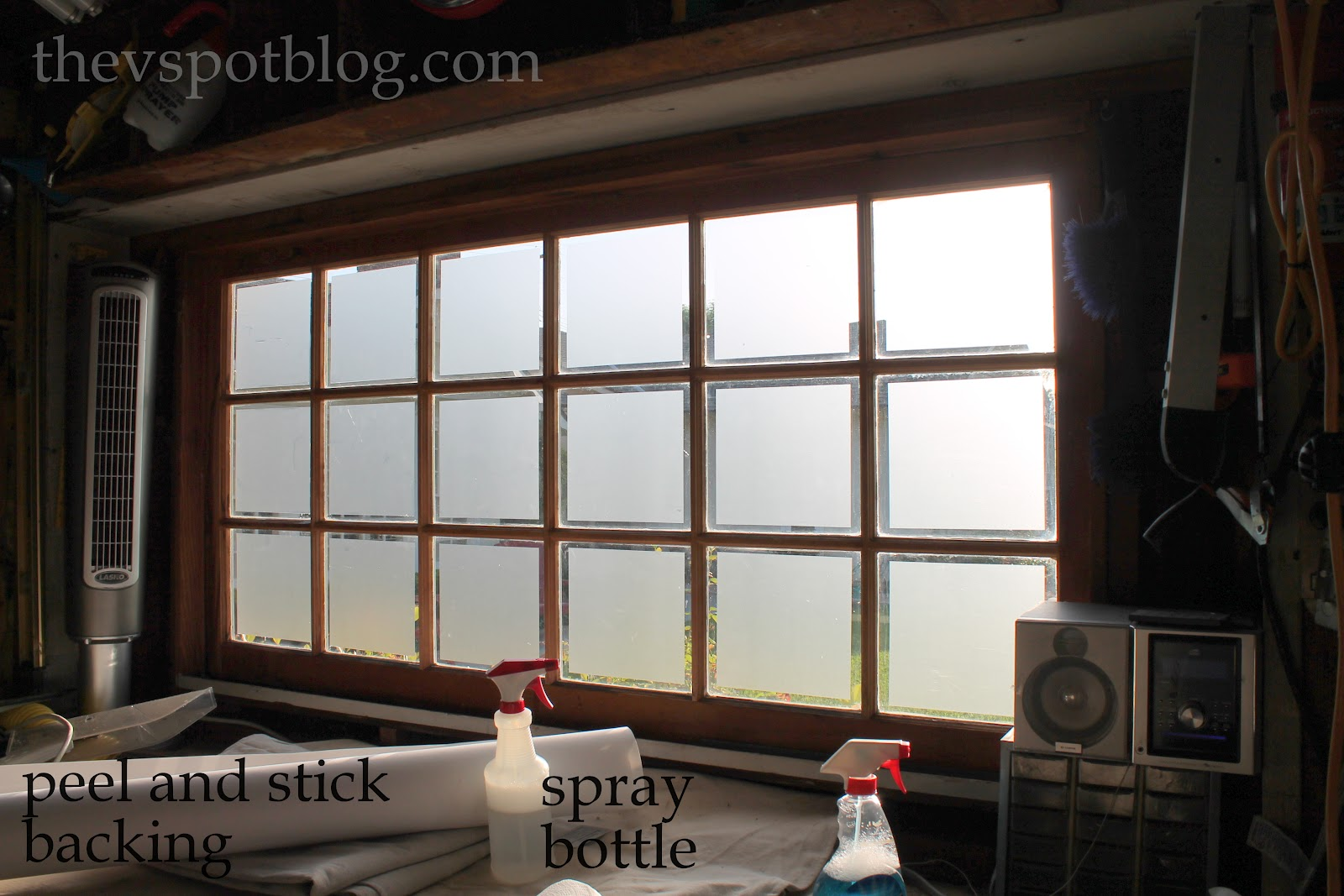 Glass garage door interior - Frosted Glass Window Film Adds Privacy To Garage Windows