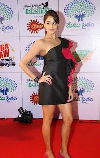 Actress Model Asmitha Sood  Pictures in Short Dress at Memu Saitam Dinner with Stars Red Carpet  23.jpg