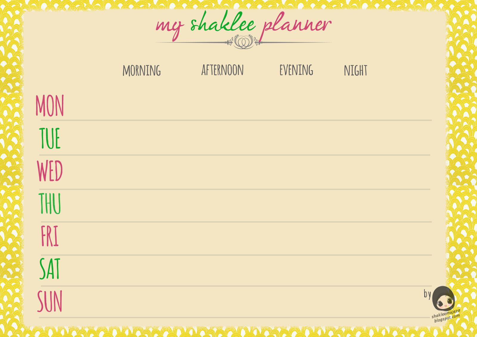 Free Download Shaklee Planner