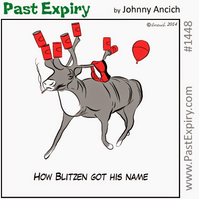This a cartoon about Blitzen the Reindeer. Under category of  christmas, tranportation
