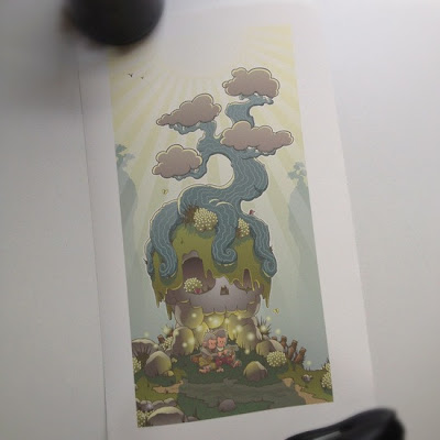 The Legend of Hotaru and the Death's Rock Octopus Tree Print by Huck Gee
